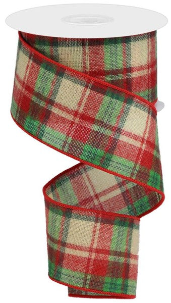 2.5in x 10yd Woven Fuzzy Plaid Cream/Cranberry/Green