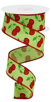 "1.5 "" x 10 Yard Cherries on Royal Bright Green/Red/Green"