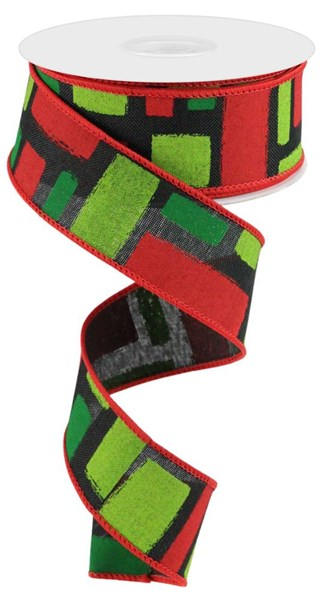 "1.5 "" x 10 Yard Bold Brush Strokes on Royal Black/Red/Lime/Emerald"