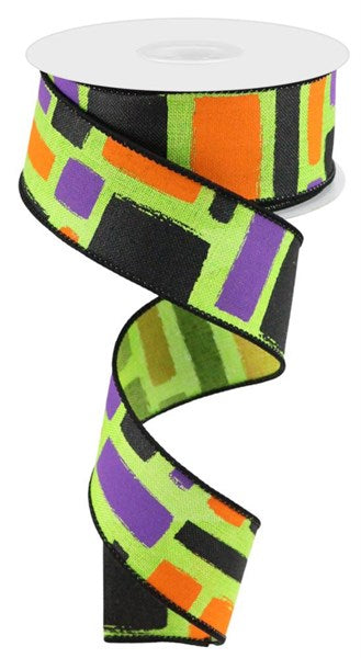 "1.5 "" x 10 Yard Bold Brush Strokes on Royal Lime/Black/Orange/Purple"