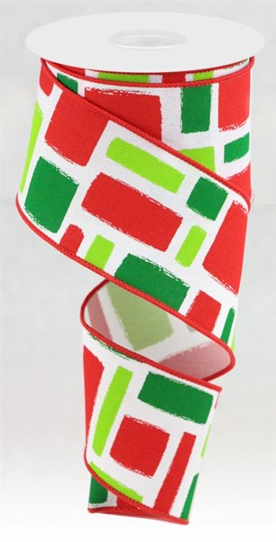 "2.5 "" x 10 Yard Bold Brush Strokes on Faux Royal White/Red/Lime/Emerald"