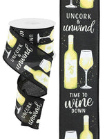 "2.5 "" x 10 Yard Wine Bottle on Royal Black/White/Cream"
