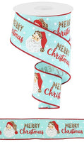"2.5 "" x 10 Yard Merry Christmas Leopard Santa Ice Blue/Multi"
