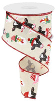 "2.5 "" x 10 Yard Christmas Farm Animals Cream/Red/Pink/Green"
