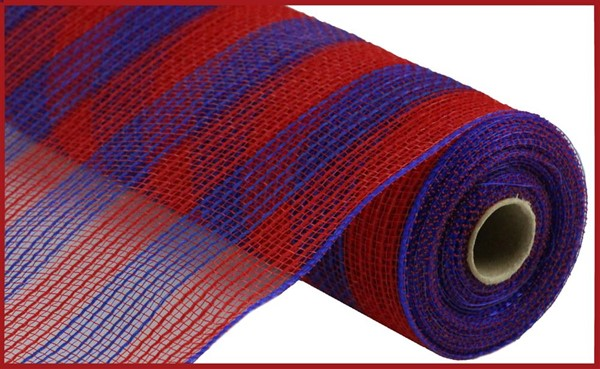 10 in by 10 yard Red/Royal Blue Faux Jute/PP Small Stripe