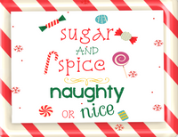 Naughty or spice sign, Candy Christmas Sign