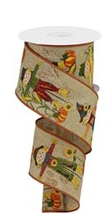 2.5 in Scarecrows With Glitter Ribbon: Tan ribbon 10 yards