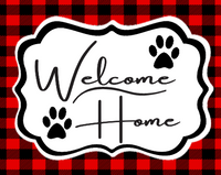 Welcome Home Red and Black Plaid Paw Prints