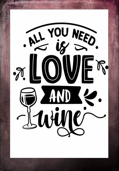 All You Need Is Love And Wine Tier Tray Sign 4 x 6