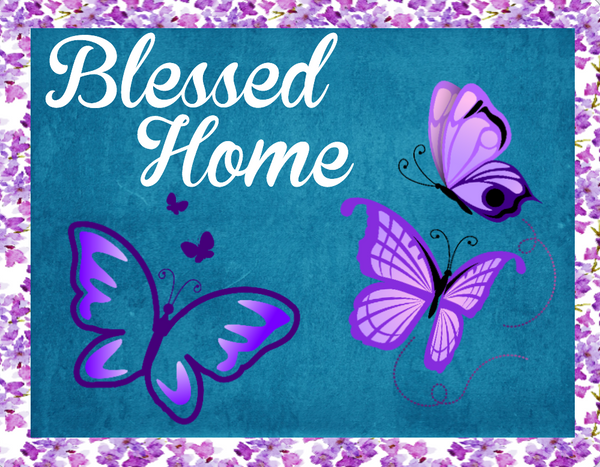 Blessed Home Butterfly sign