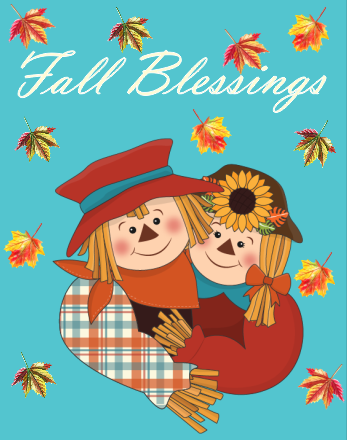 Fall Blessings Scarecrow sign