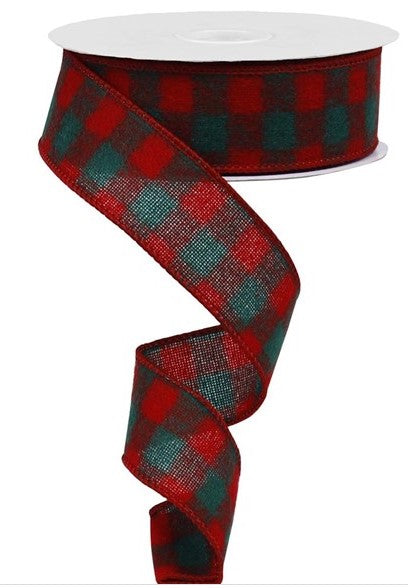 1.5in red and green fuzzy checked Wired Ribbon