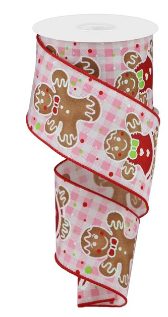 2.5 in Pink and white Gingham Gingerbread ribbon 10 yards