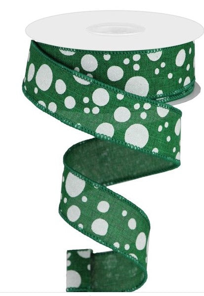 "1.5"" by 10 yd Green and white glitter polka dots Wired Ribbon"