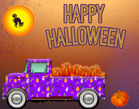 Happy Halloween truck with pumpkins