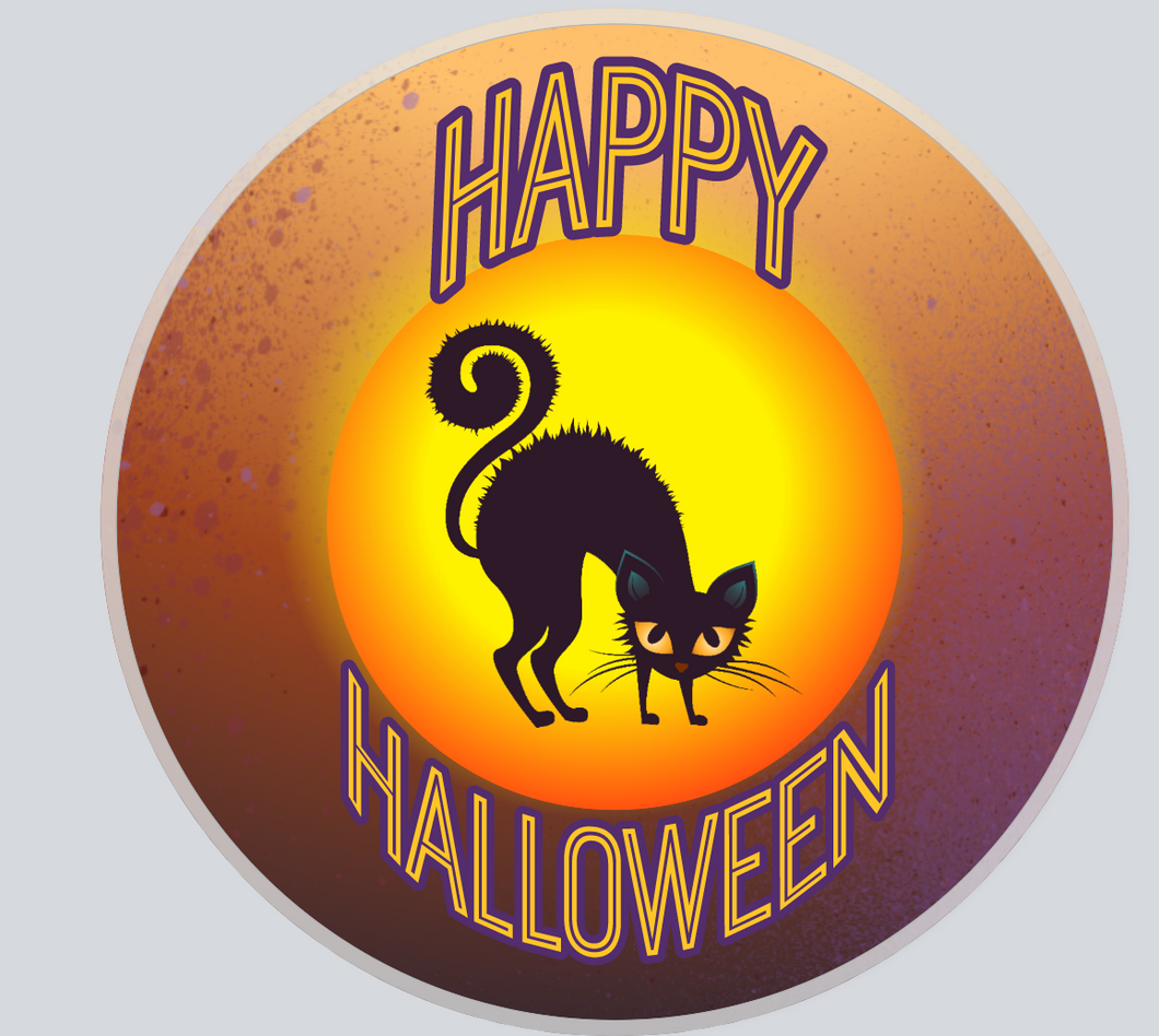 Happy Halloween sign- Cat Moon