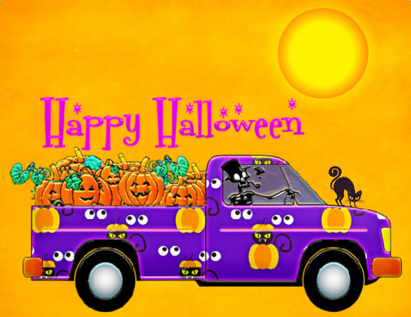 Happy Halloween truck with skeleton sign