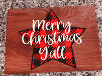Merry Christmas y'all buffalo plaid star sign