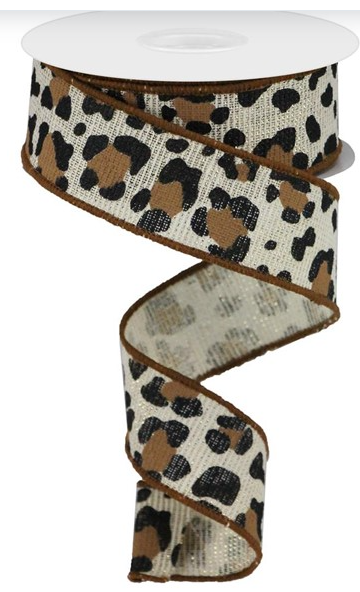 2.5 in Leopard print ribbon 10 yards