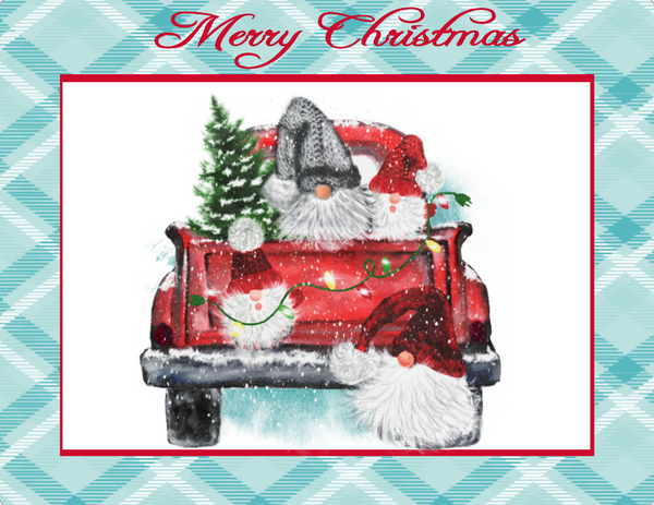 Merry Christmas Turquoise and Red Truck sign