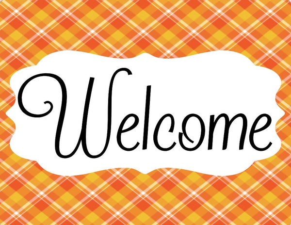 Orange and Yellow Plaid welcome sign