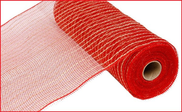 10in by 10 yard Red and Natural Poly Jute Mesh