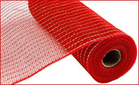 10in by 10 yard Red/Matte Gold Wide Foil Mesh