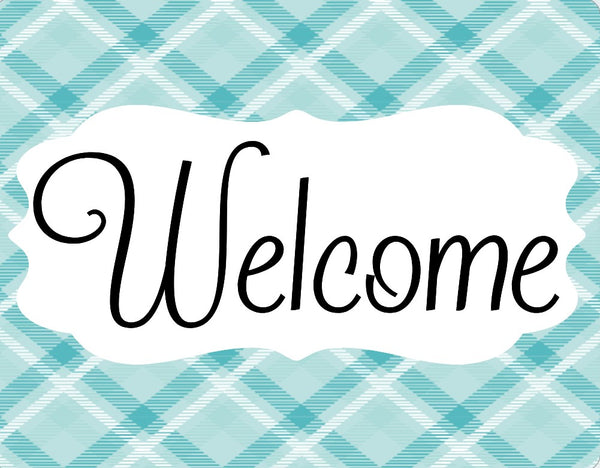 Turquoise Plaid welcome sign