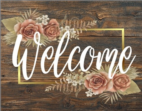 Welcome Barn Wood Flower Sign