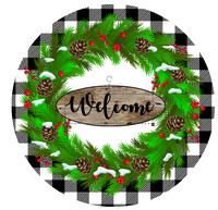 Black and White Plaid Welcome evergreen wreath Sign Round