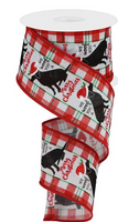 "White background 2.5"" We Woof Merry Christmas Wired Ribbon"
