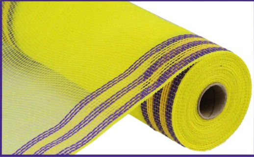 10 in by 10 yard Yellow mesh with Purple edge Deco Mesh