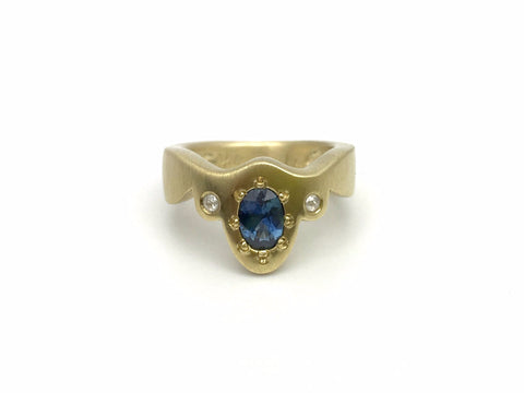 Picot Ring with Montana Sapphire