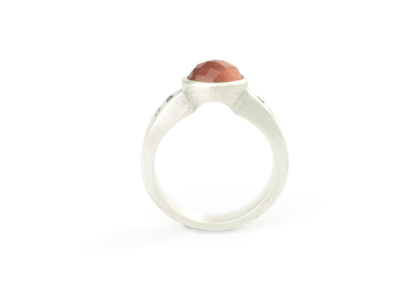Arch Ring Argentium Sterling Silver with Oregon Sunstone