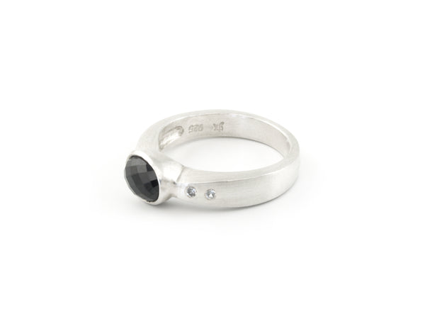 Arch Ring Argentium Sterling Silver with Australian Spinel