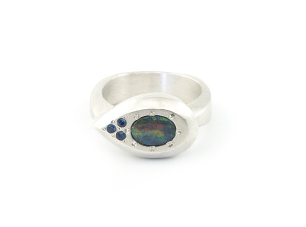 Drop Ring in Argentium Sterling Silver with Australian Bolder Opal
