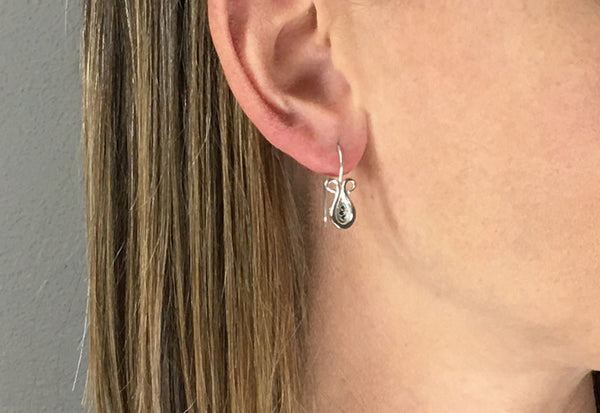 Forged Drop Earrings with Silver