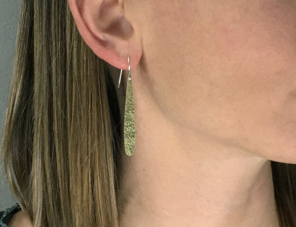 Large Drop Dangle Earrings in Gold or Silver