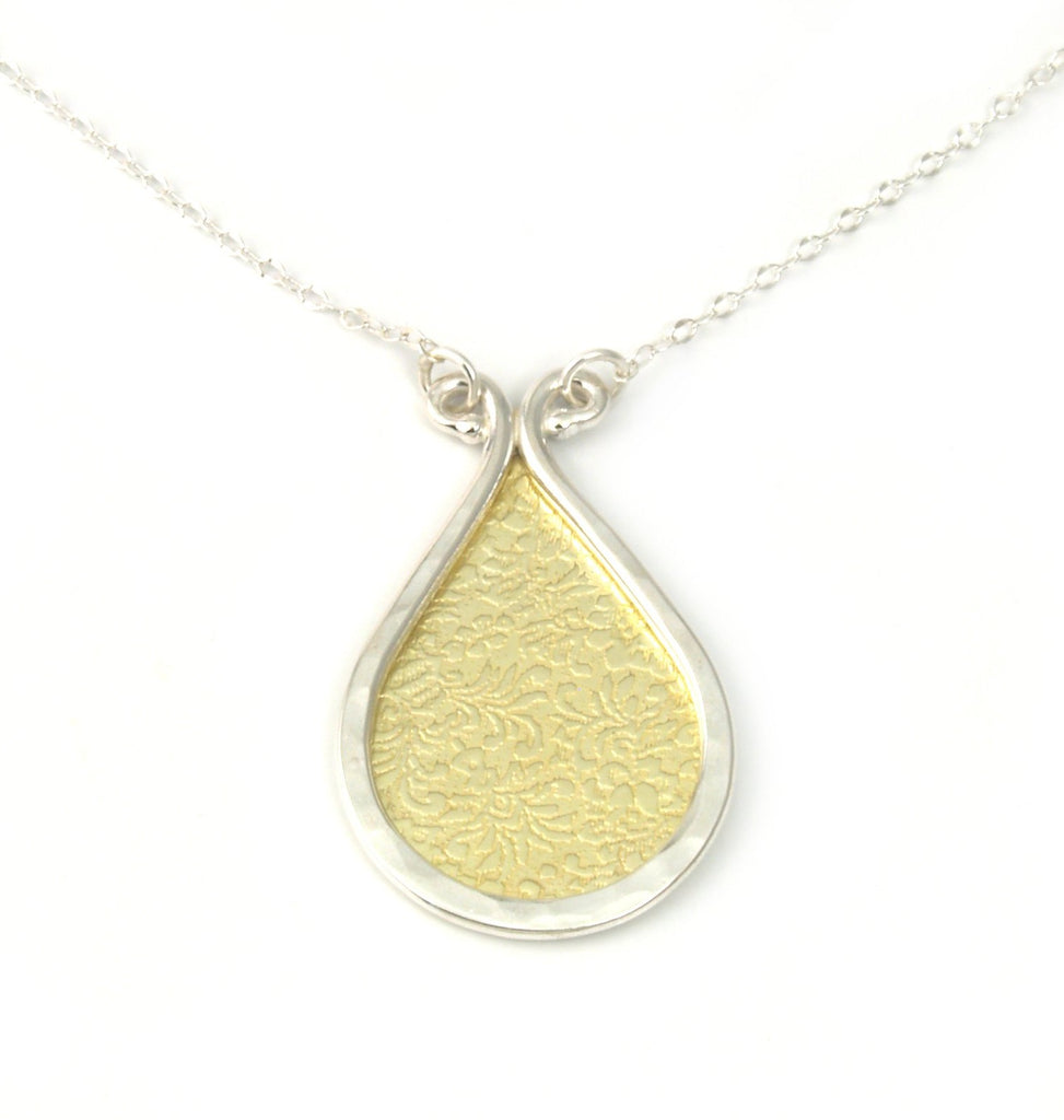 Large Forged Drop Necklace with Gold