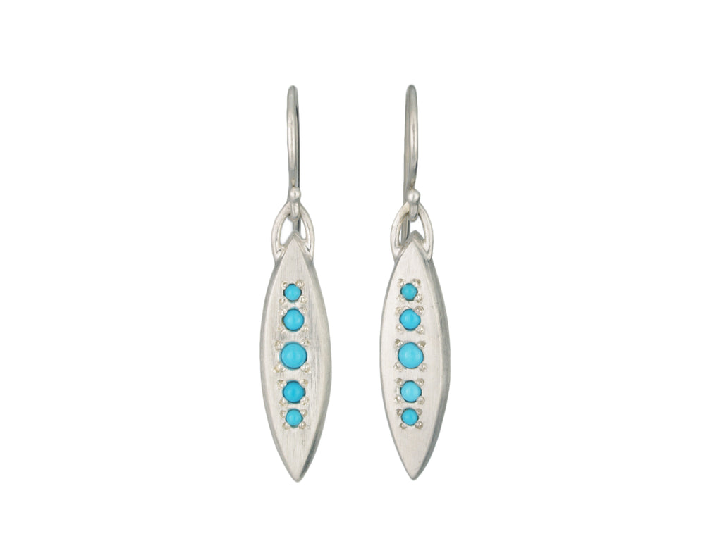 Marquise Dot Earrings with Turquoise