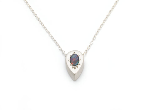 Tiny Drop Necklace with Australian Boulder Opal
