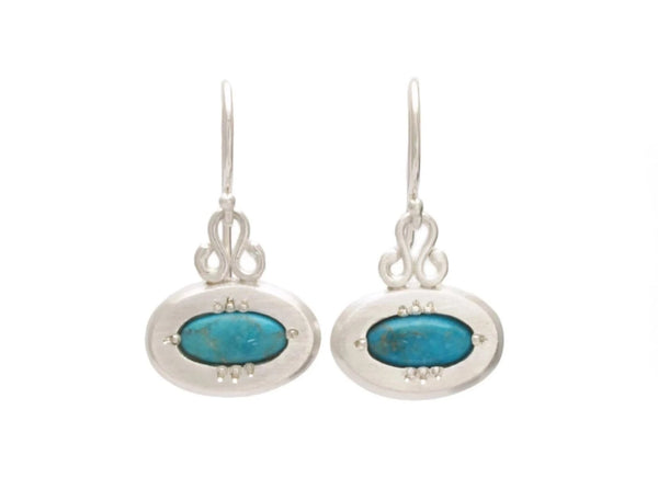 Oval Dangle Earrings with Turquoise