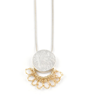 Pattern Circle Necklace with Gold Crochet