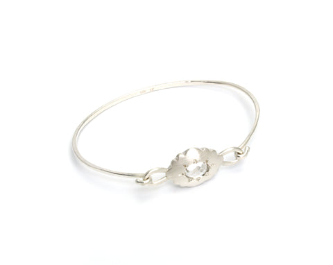 Scallop Oval Bracelet in Argentium Sterling Silver with Arkansas Quartz