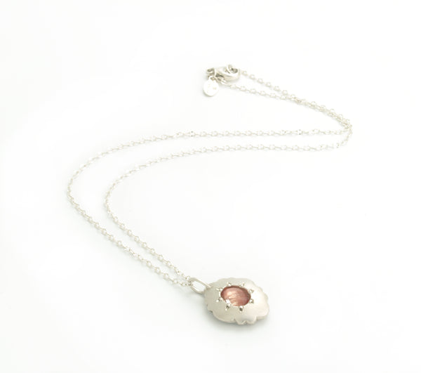 Scallop Oval Necklace in Argentium Sterling Silver with Oregon Sunstone