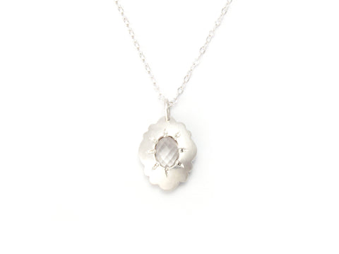Scallop Oval Necklace in Argentium Sterling Silver with Arkansas Quartz