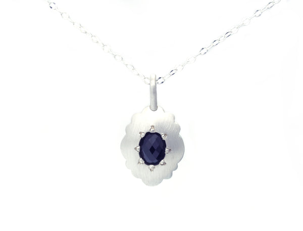 Scallop Oval Necklace in Argentium Sterling Silver with Australian Spinel