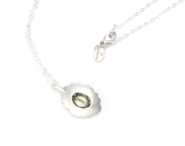 Scallop Oval Necklace in Argentium Sterling Silver with Csarite
