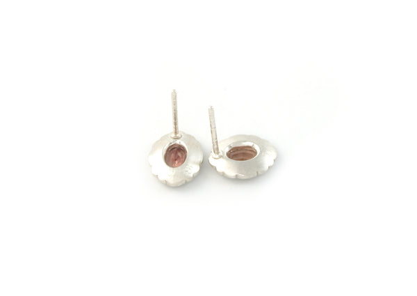 Scallop Oval Studs with Oregon Sunstone