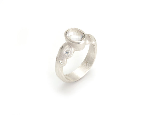 Scallop Ring in Argentium Sterling Silver with Arkansas Quartz